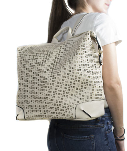 Γυναικεία Τσάντα Backpack Μπεζ Διάτρητη