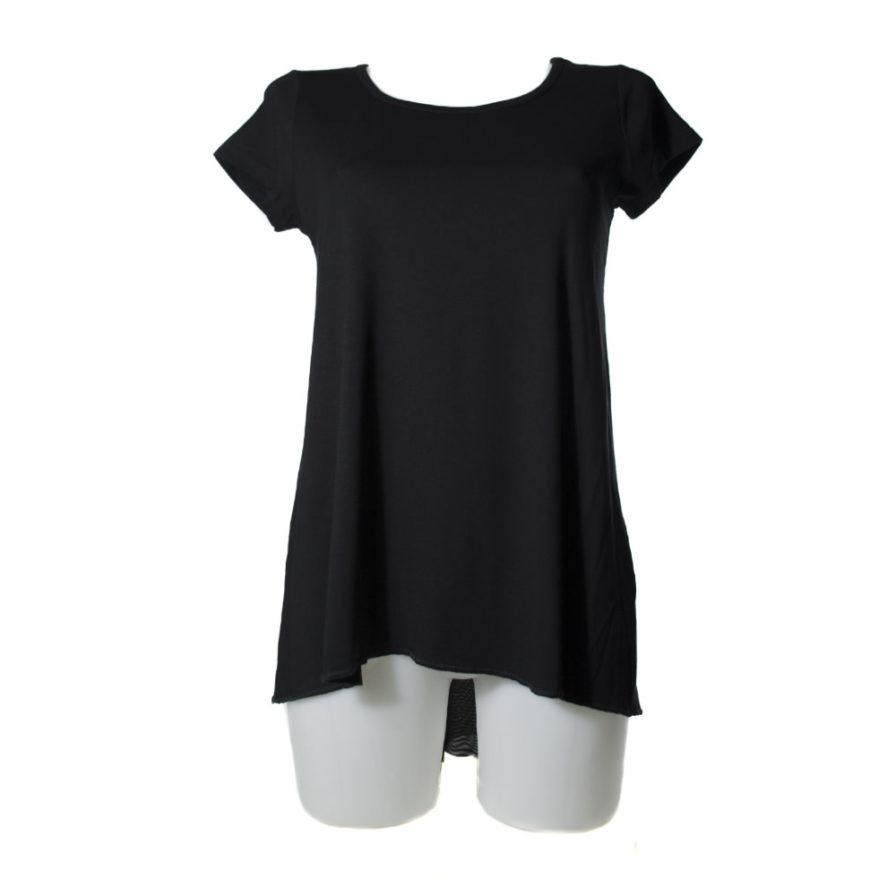 Γυναικεία Μπλούζα Ασύμμετρη Με Διαφάνεια Μαύρη