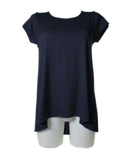 Γυναικεία Μπλούζα Ασύμμετρη Με Διαφάνεια Μπλε