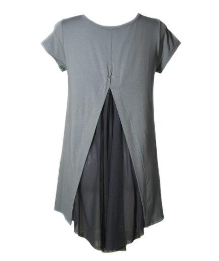 Γυναικεία Μπλούζα Ασύμμετρη Με Διαφάνεια Γκρι