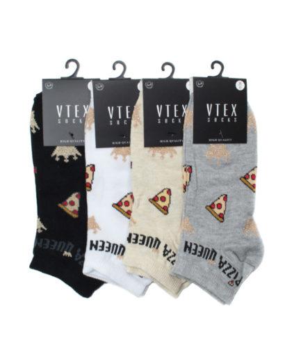 Σετ 4 Γυναικείες Κάλτσες Σοσόνι Με Pizza