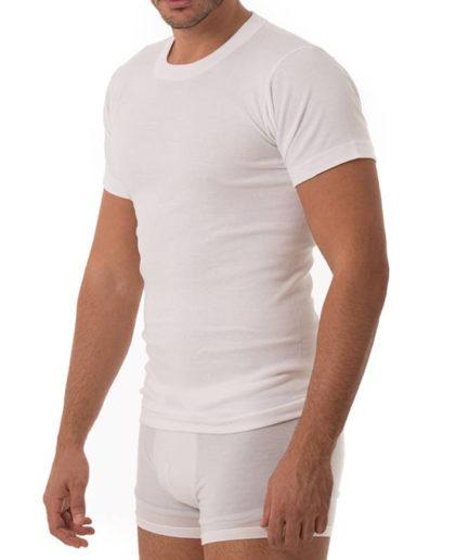 Ανδρικό Φανελάκι Κοντό Μανίκι Άσπρο, 100% Βαμβακερό T-Shirt