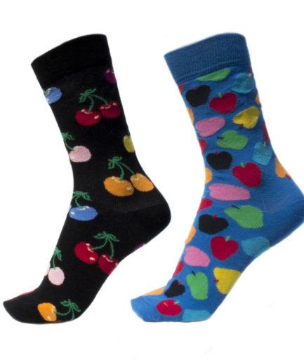 Σετ Ανδρικές Κάλτσες Ψηλές Με Μήλα - Κεράσια