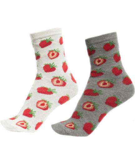 Σετ 3 Γυναικείες Κάλτσες Ψηλές Με Φράουλες