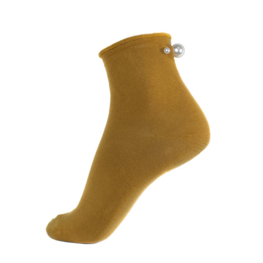 Γυναικείες Κοντές Κάλτσες Με Πέρλες Κίτρινες - Cante.gr