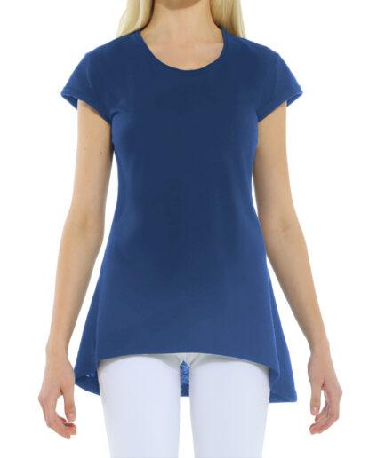 Γυναικεία Μπλούζα Ασύμμετρη Μπλε Ραφ - Cante.gr
