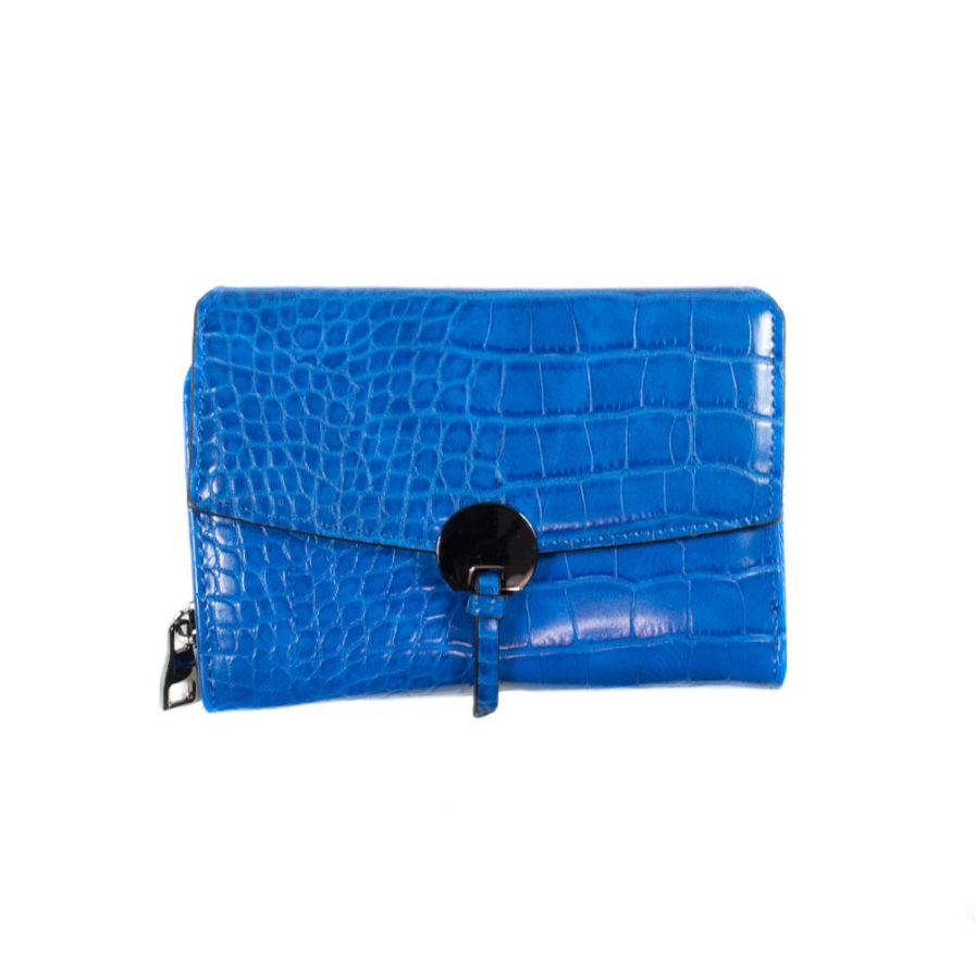 Γυναικείο Πορτοφόλι Κροκό Μπλε - Γυναικεία Πορτοφόλια