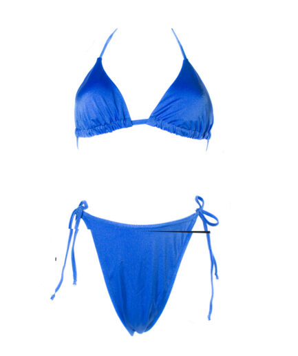 Γυναικείο Μαγιό Γυαλιστερό Μπλε Ρουα Σετ - Cante.gr