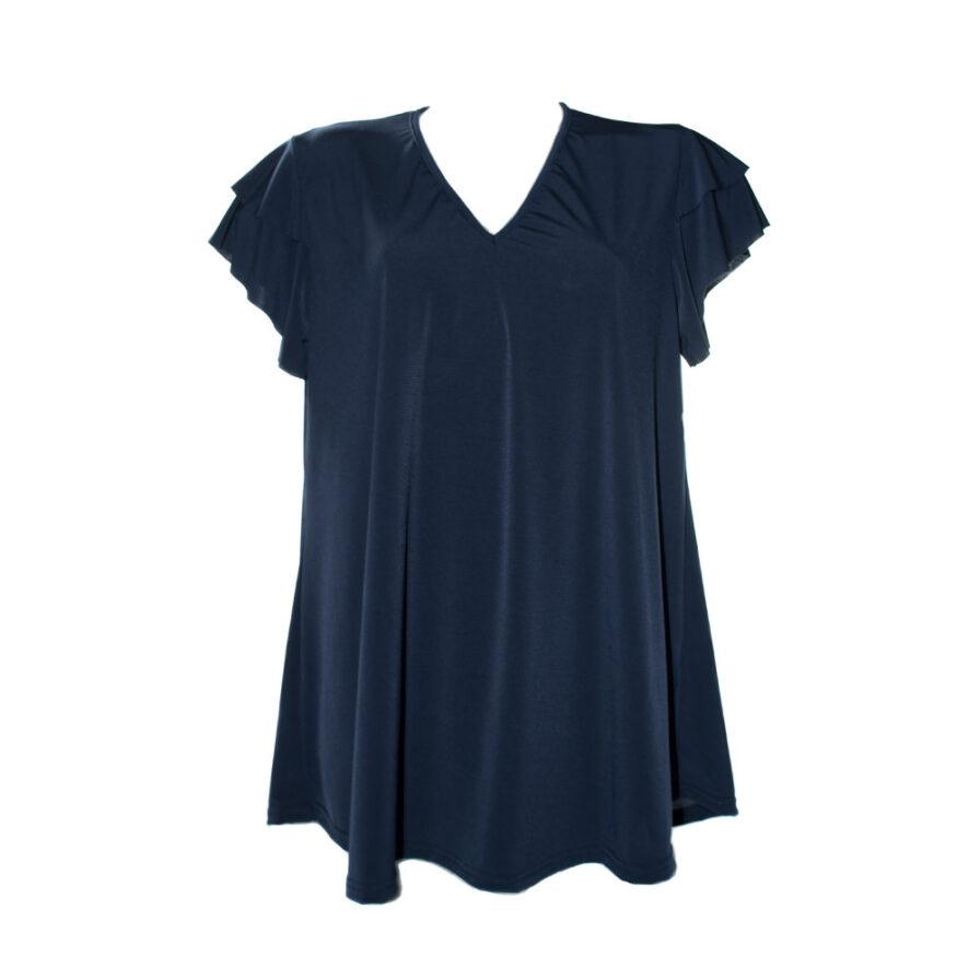 Γυναικείο T-Shirt Με Βολάν Μανίκια Μπλε - Cante.gr