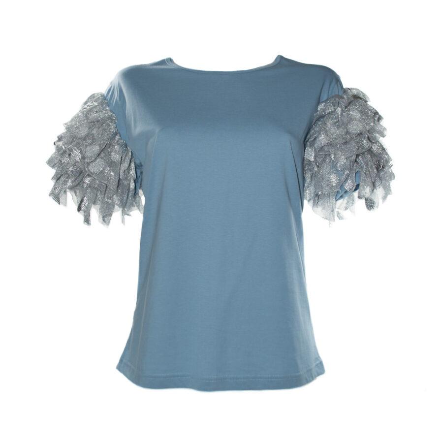 Γυναικείο T-Shirt Με Ογκώδη Μανίκια Γαλάζιο - Cante.gr
