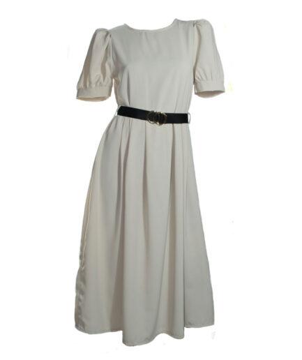 Γυναικείο Φόρεμα Midi Κοντομάνικο Μπεζ - Cante.gr