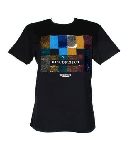 Γυναικείο T-Shirt Με Παγιέτες Μαύρο - Cante.gr