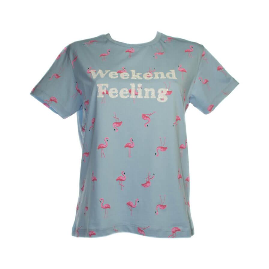 Γυναικείο T-Shirt 3D Γαλάζιο Με Φλαμίνγκο - Cante.gr