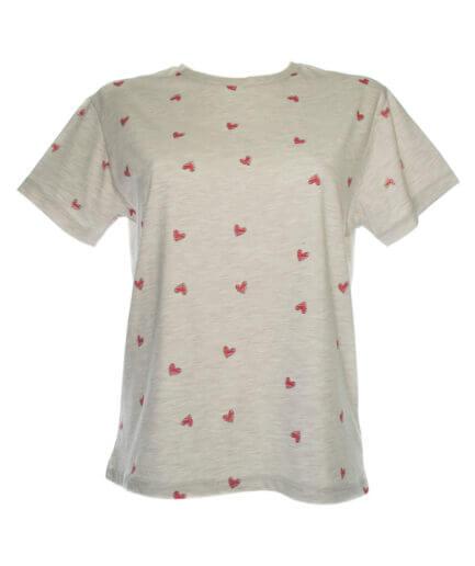 Γυναικείο T-Shirt Με Καρδιές Μπεζ - Cante.gr