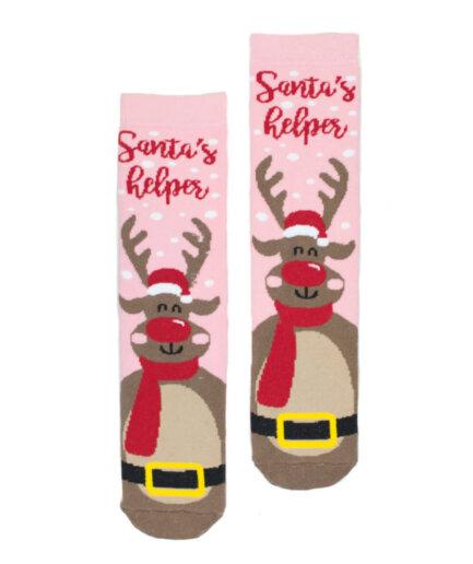 Γυναικείες Κάλτσες Χριστουγεννιάτικες Πετσετέ Τάρανδος - Cante.gr
