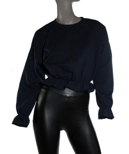 Γυναικεία Μπλούζα Μακρυμάνικη Με Λάστιχο Μπλε - Cante.gr