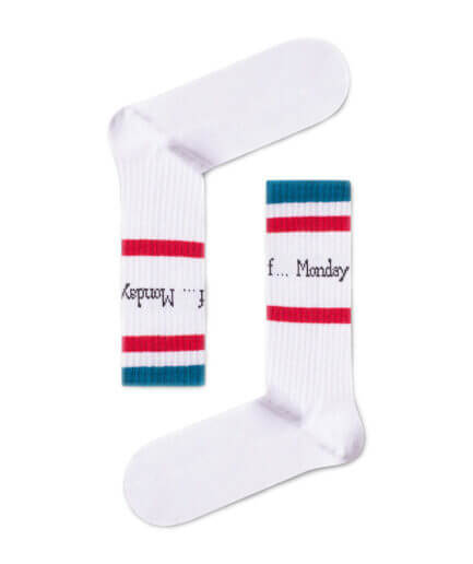 Unisex Κάλτσες Ψηλές Monday Άσπρες - Cante.gr