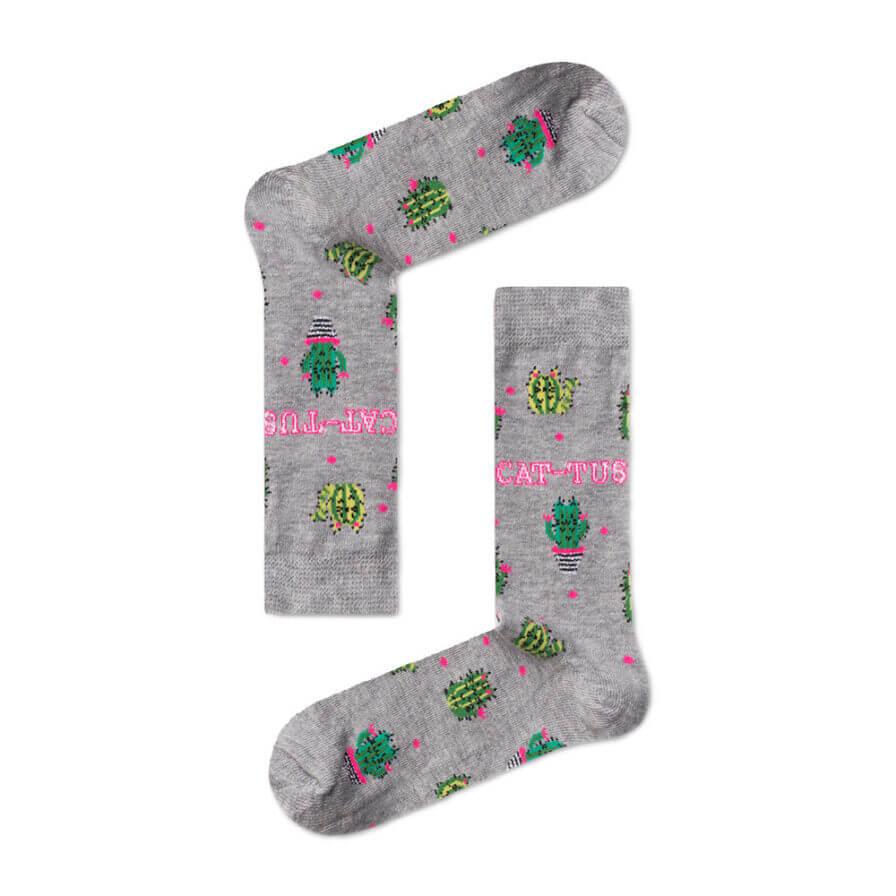 Unisex Κάλτσες Ψηλές Με Κάκτους Γκρι - Cante.gr