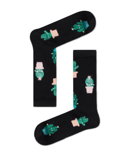 Unisex Κάλτσες Ψηλές Με Κάκτους Μαύρες - Cante.gr