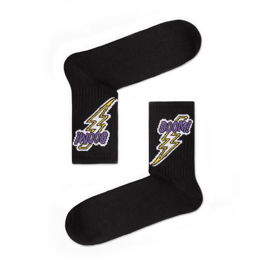 Unisex Κάλτσες Ψηλές Boom Μαύρες - Cante.gr