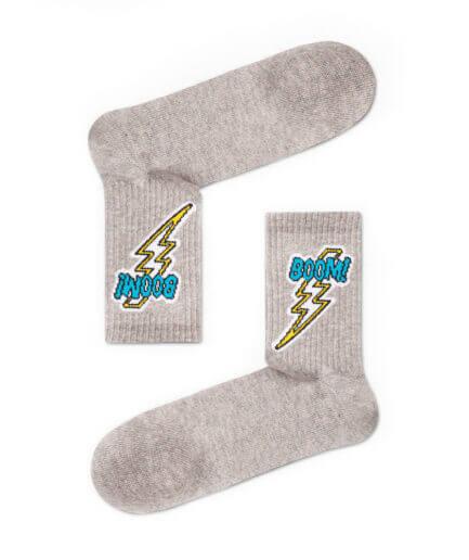 Unisex Κάλτσες Ψηλές Boom Γκρι - Cante.gr