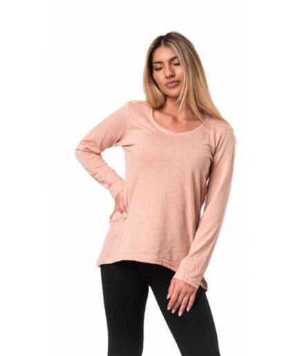 Γυναικεία Μπλούζα Μακρυμάνικη Ροζ - Cante.gr