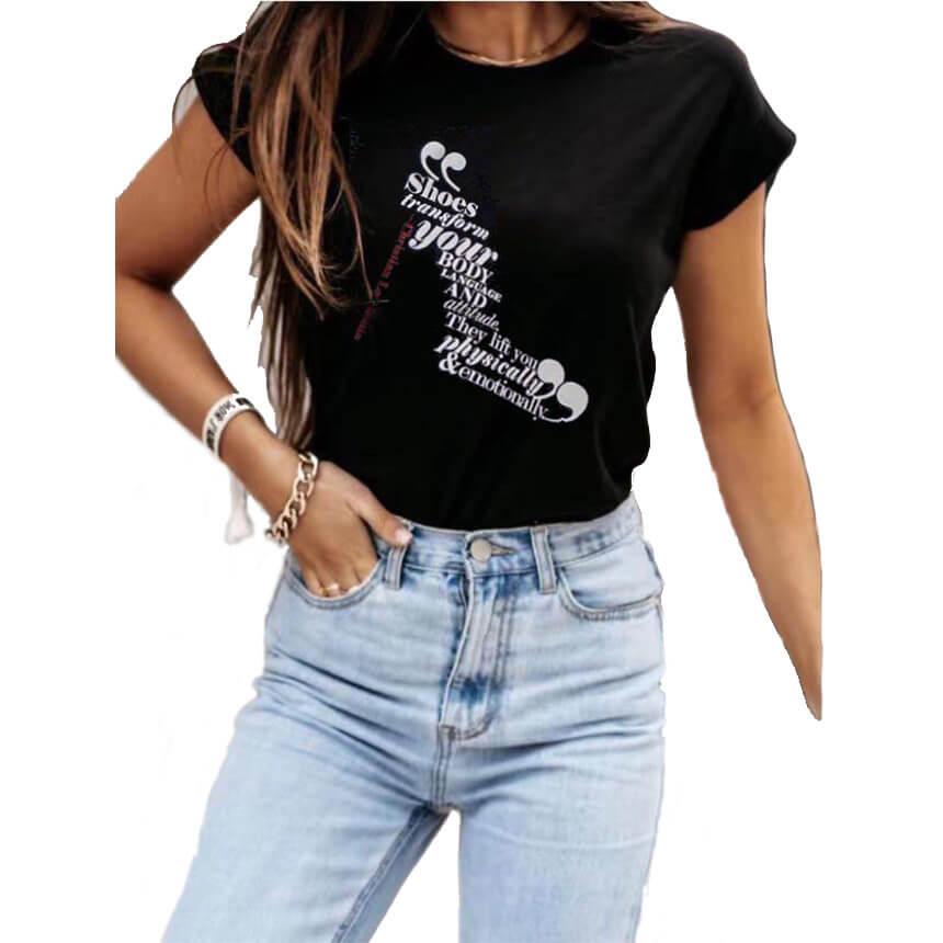Γυναικείο T-Shirt Shoes Μαύρο - Cante.gr