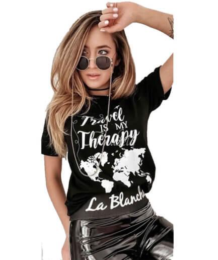 Γυναικείο T-Shirt Travel Μαύρο - Cante.gr