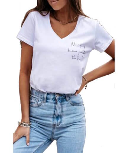 Γυναικείο T-Shirt Never Give Up Άσπρο - Cante.gr