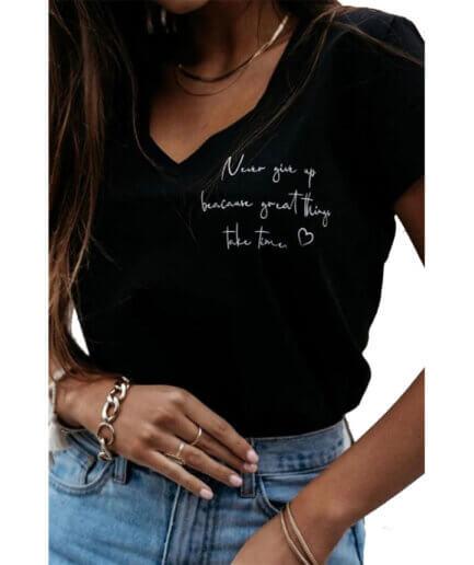 Γυναικείο T-Shirt Never Give Up Μαύρο - Cante.gr