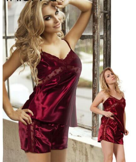 Γυναικείες Πυτζάμες Σατέν Με Δαντέλα - Cante.gr