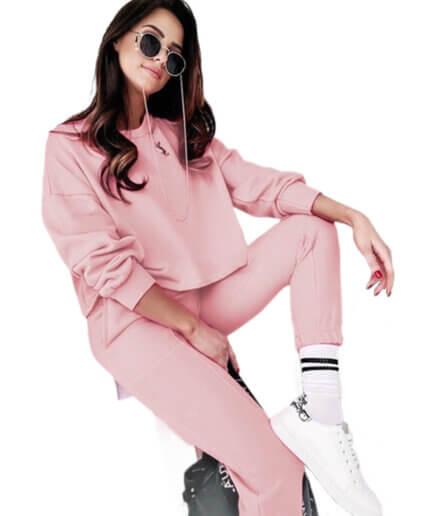 Γυναικεία Φόρμα Με Σκίσιμο Στο Λαιμό Ροζ - Cante.gr