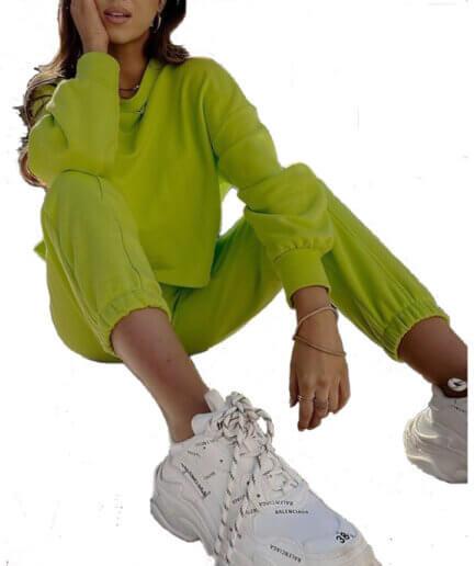 Γυναικεία Φόρμα Με Γαζί Lime - Cante.gr