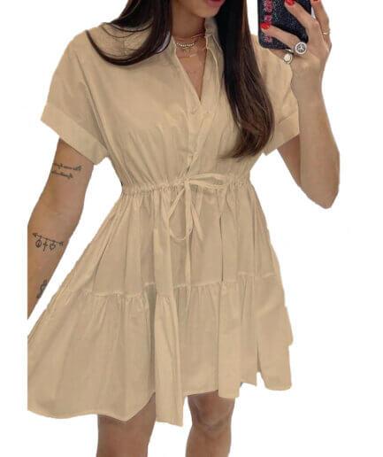 Γυναικείο Φόρεμα Σεμιζιέ Mini Μπεζ - Cante.gr
