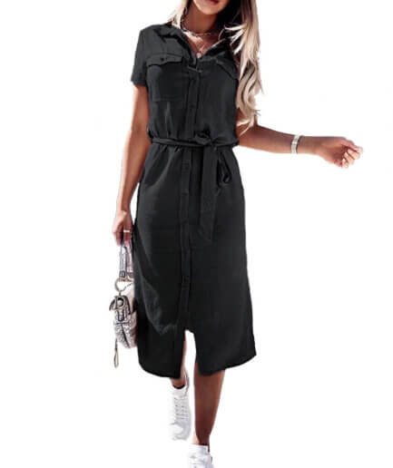 Γυναικείο Φόρεμα Σεμιζιέ Μαύρο - Cante.gr