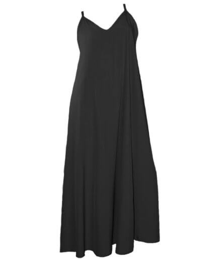 Γυναικείο Φόρεμα Τιραντέ Oversized Μαύρο - Cante.gr