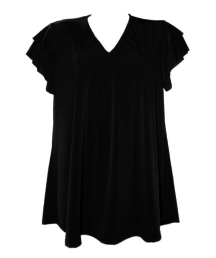 Γυναικεία Μπλούζα Με Βολάν Μανίκια Μαύρη - Cante.gr
