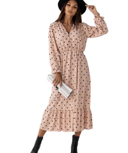 Γυναικείο Φόρεμα Μίντι Πουά Ροζ - Cante.gr