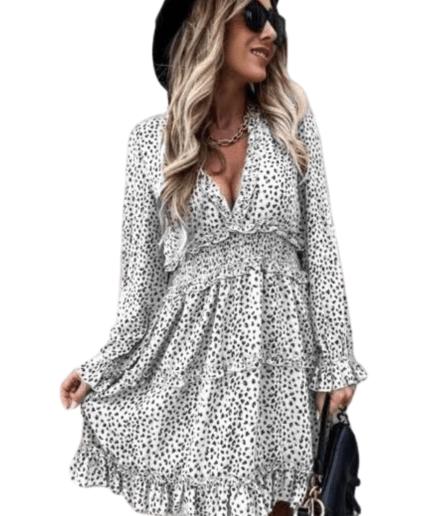 Γυναικείο Φόρεμα Μίνι Τιγρέ Άσπρο/Μαύρο - Cante.gr
